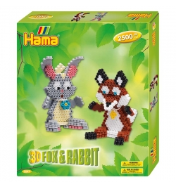 Hama Beads 3D Αλεπού και Κουνέλι Gift Set