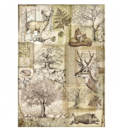 """Ricepaper A4: """"Forest Deer and wild boar"""""""